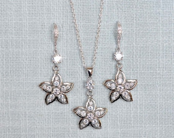 Handmade Cubic Zirconia CZ Starfish Bridal Necklace & Earrings Set, Bridal, Beach Wedding, Destination Wedding (Sparkle-2774)