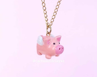 Flying pig necklace, when pigs fly charm, pig jewelry, Mini pig necklace, pink pig charm, Polymer Clay pig