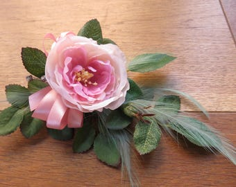 Pink Rose Flower Corsage, Wedding, Prom, Anniversary or Event.