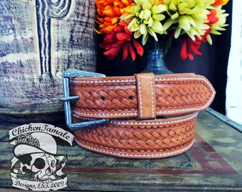 leather hand tooled belt