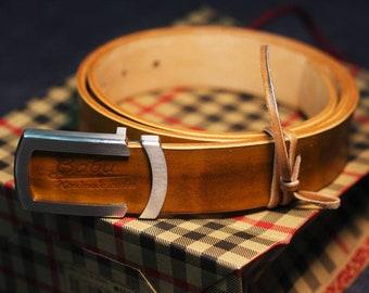 Handmade leather belt for men, Vegetable tanned Leather. Long lasting belt, High Quality Leather belt. Brown leather belt