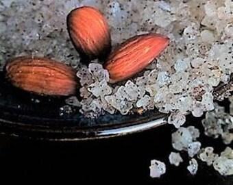 Almond FRAGRANCE Oil Dead Sea Bath Salt - 8 oz jar- with Jojoba beads and Sweet Almond Oil