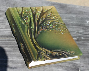 Leather photo album 13x9  with Tree for 300 photos Anniversary gift wedding gift baby shower gift