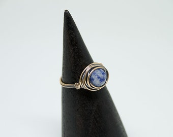 Blue Sodalite Nesting Copper Ring, Sodalite,Stone Ring,Natural Stone Ring,Wire Wrapped Ring,Copper Ring,Unique Ring,Womens ring,Blue R49C