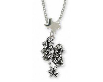 Bluebonnet Pendant Jewelry Sterling Silver Handmade Texas Wildflower Pendant FL4-XP