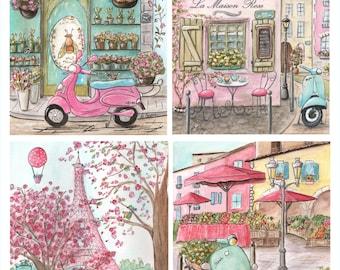 Paris Bedding, Paris Art, Paris Nursery, Set Of 4, Eiffel Tower, Baby Shower Gift, Personalized Paris Baby Nursery Art, Baby Girl Gift Idea