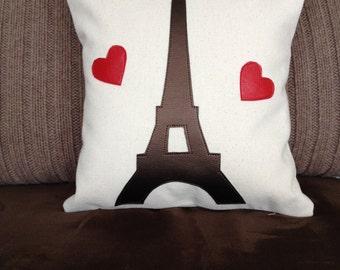 Eiffel Tower Pillow, Paris Pillow, Handmade Pillow, Travel pillow, Spring pillow, summer pillow, 12 x 12 pillow, gift for Mom,