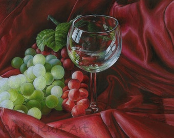 Original Artwork by Carla Kurt Red Satin and Grapes