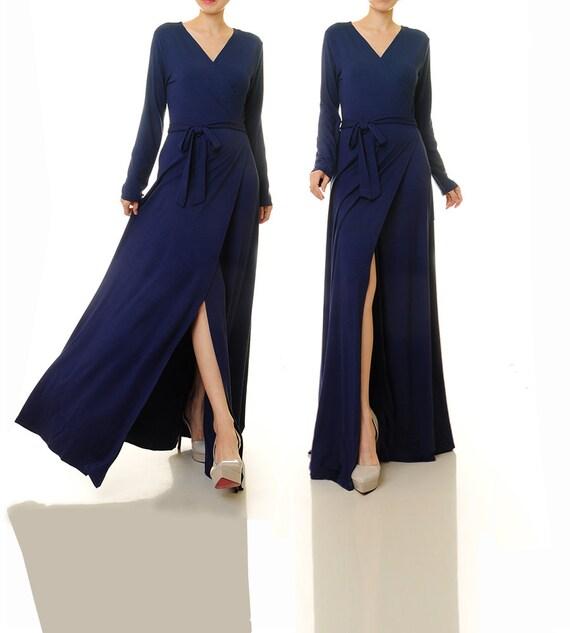 Wrap Dress Long Sleeve Navy Blue Wrap Maxi Dress Navy