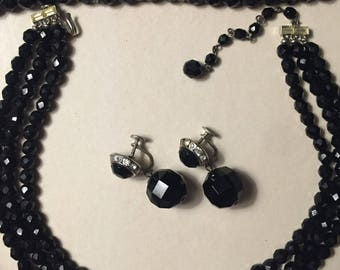 Vintage Black Crystal Parure Triple Strand Necklace w Matching Bracelet and Earrings