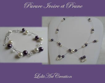 Adornment bracelet plum Pearl Necklace Ivory Pearl wedding Bridal jewelry