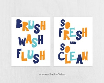 Kids Bathroom Decor 8x10 Instant Download - Brush Wash Flush - So Fresh and So Clean  - Navy, Orange, Aqua Digital Bathroom Art