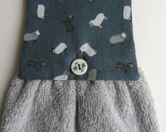 Handmade Hanging Hand Towel Grey Sheep