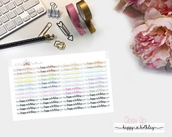Happy Birthday dainty script planner stickers