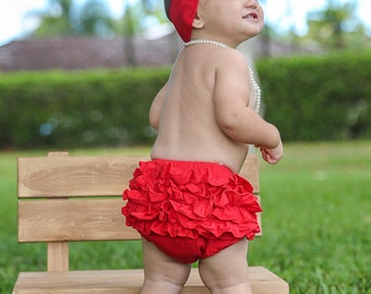 Baby Bloomers, Red Ruffle Back Bloomers, Cotton Baby Bloomers, Christmas Bloomer, Baby Diaper Cover, Newborn Bloomers, Diaper Covers, 2221