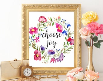 Nursery art printable Nursery art print Choose Joy Wall art print Floral wreath Watercolor flowers Choose Joy poster Home decor Digital file