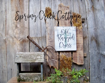 Old Rugged Cross, Wood Signs, Home Decor, Religious, Handpainted, Signs, Typography, Modern Rustic, Inspirational Sayings, Wall Decor, Gifts