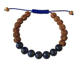 Rudraksha and Lapis Lazuli Tibetan Wrist Mala Yoga Bracelet