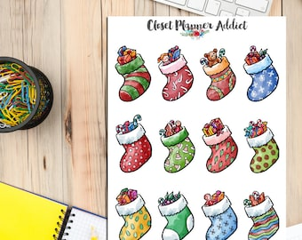 Woolly Christmas Socks Planner Stickers (S-177)