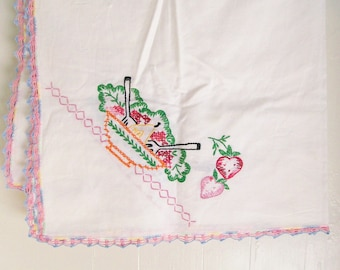 Vintage Embroidered Cotton Tablecloth Luncheon 'Card Table' 34 Inch Square Shabby Cottage