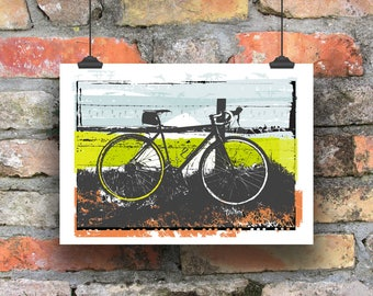 Cycling Art / Outside is Free Cycling Print /  Giclee Cycling Print