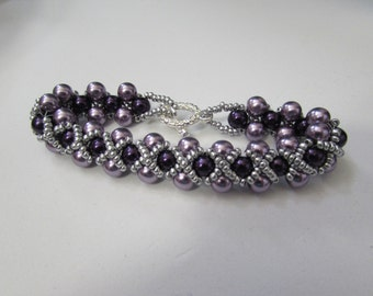 Purple and Liliac Glass Pearl Beaded Bracelet with Toggle Clasp