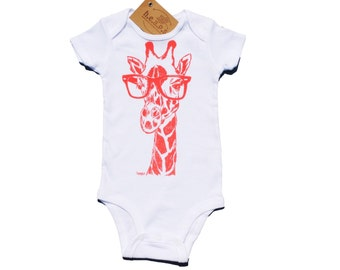 Coral Giraffe Baby Bodysuit - Baby Shower Gift - New Mom Gift - Giraffe Hipster Glasses - Baby Girl One Piece - Pink