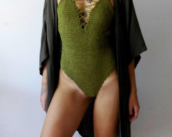 Crochet One-Piece // Lace-up monokine // handmade bodysuit // crochet suimsuit