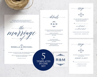 Navy Blue Wedding Invitation Template, Wedding invitation template, Wedding Invite, Kraft wedding Invitation, instant download, WPC_108SD1B