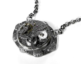 Steampunk Jewelry Necklace Pocket Watch, Steampunk Fashion, SPINNING PROPELLER, Mens Gift, Boyfriend Burning Man  - Jewelry by edmdesigns