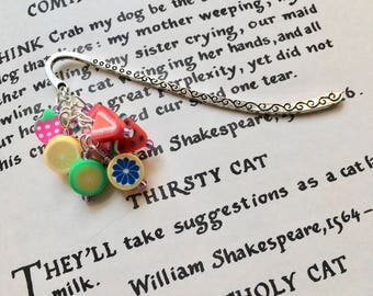 Polymer Clay Fruit Bookmark, Food Bookmark, 16th Birthday Gift for Teenage Girl, FIMO Bookmark, Polymer Clay Bookmark, Unique Bookmark