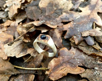 Real antler ring with inlaid Iolite