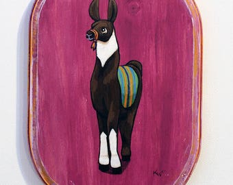 Llama Art - Small Original Wall Art Acrylic Painting on Wood by Karen Watkins - Animal Miniature Artwork - Llama Painting