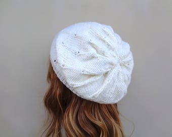 Winter White Slouch Hat with Dot Texture, Pure Wool, Hand Knit, Beanie, Women & Teen Girls, Off White