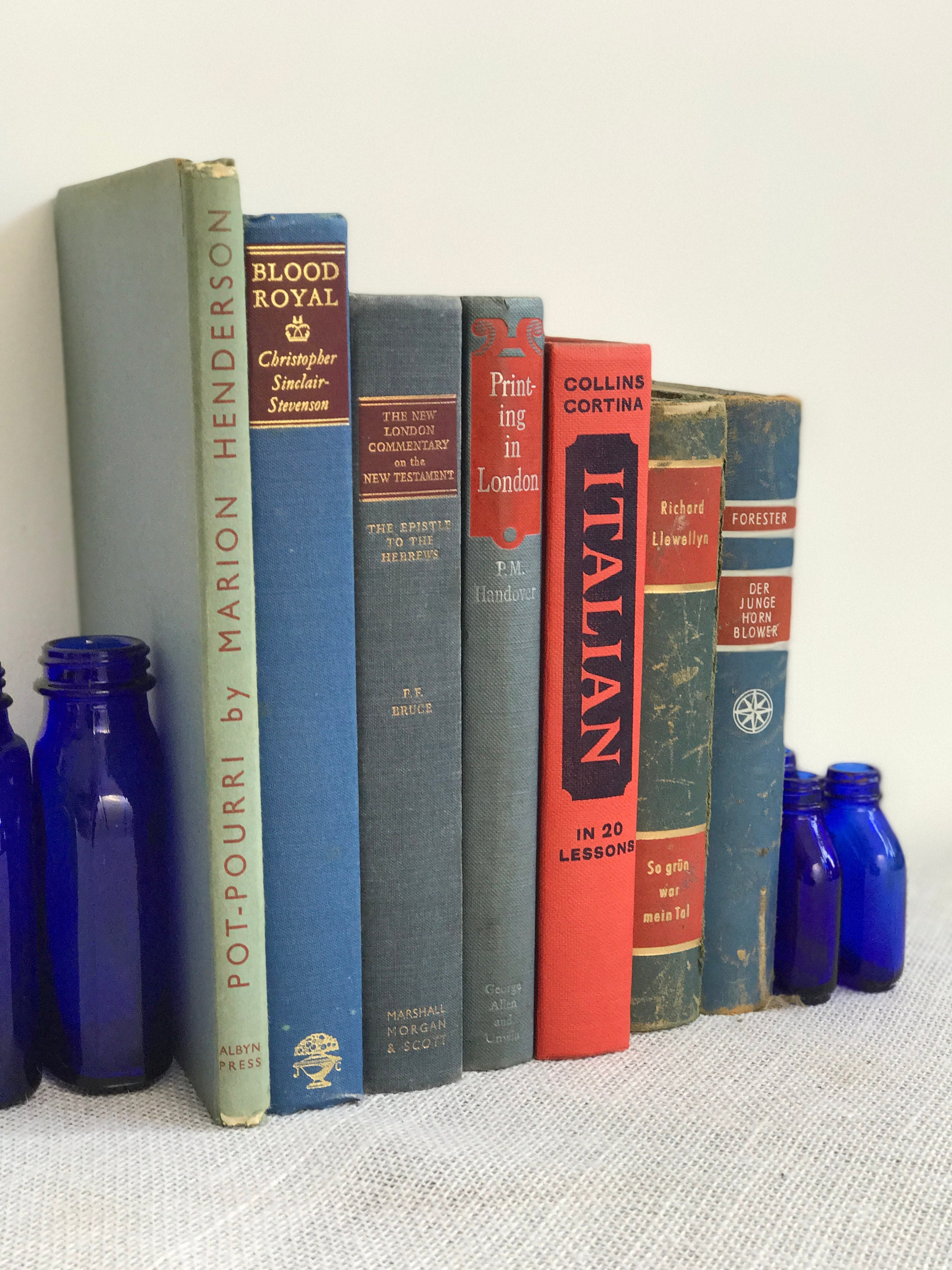 RED and BLUE Vintage Book Collection - Old Books Decoration ...