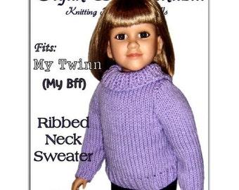 Knitting Pattern fits My Twinn (My BFF), 23 inch dolls. Sweater, PDF Instant Download 649