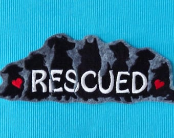 """Large Dog Rescue Iron On Patch, Pet Rescue, Pound Puppy, 6.75"""" Wide X 2.5"""" High, Silhouettes, Animal Lover, Embroidered Patch"""