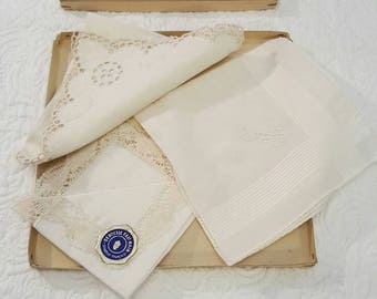 Set of embroidered cotton handkerchiefs.