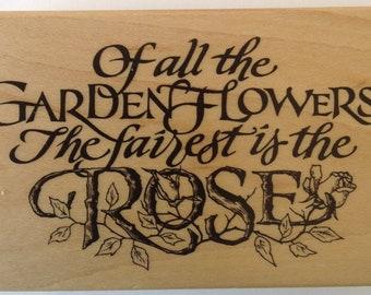 Rose Sentiment Rubber Stamp