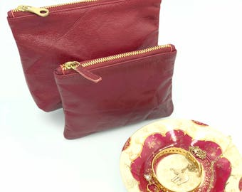 Red Leather Pouch, Leather Bag, Leather Makeup Bag, Leather Travel Bag, Pouch, Handbag