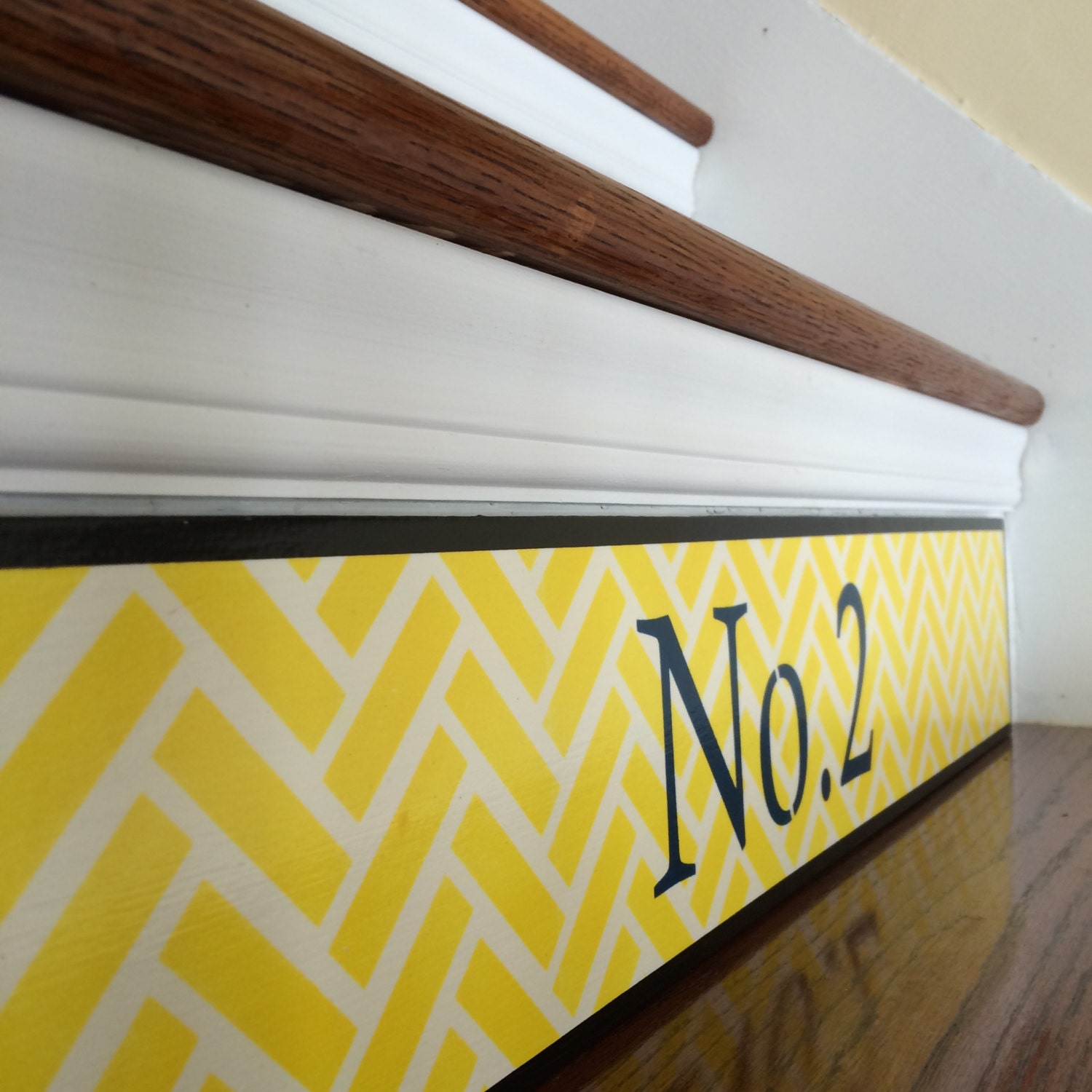 Stair Numbers / Yellow Chevron Home Decor / Navy Home Decor