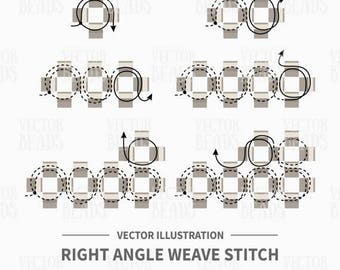 Vector Illustration of Right Angle Weave Stitch