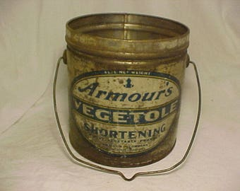 c1920s Armour Vegetole Shortening Armour and Company Chicago, ILL. , Advertising Lard Tin Can Pail