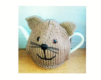 Hand Knitted Tea Cosy, Cat Tea Cosy, Knitted Tea Cozies, Fun kitchen gift, kitchen accessory, home decor