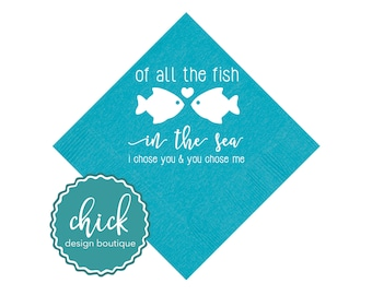 All the Fish Beverage Napkins Wedding Decor Fun Wedding Party Gifts Wedding Anniversary Party Gifts Custom Beverage 1D382B Caribbean