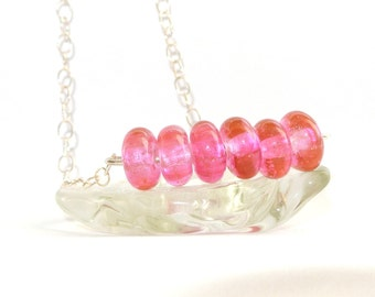 Lampwork Glass Bead Necklace - Pink Fairy Kisses