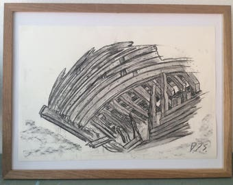 Charcoal Drawing: Broken Bow at le Maguer (29.7 cm x 42cm A3)