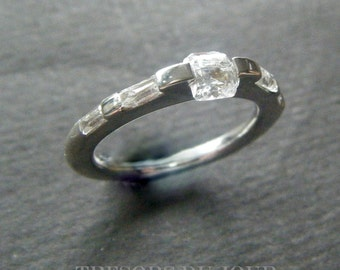 UNIQUE ENGAGEMENT RING w Asscher Diamond Platinum Engagement Ring Diamond Modern Engagement Ring Baguette Engagement Ring Unique Modern Ring
