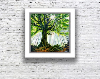 Printed reproduction artwork, canvas or paper print of forest scene, 'WOODLAND LIGHT'