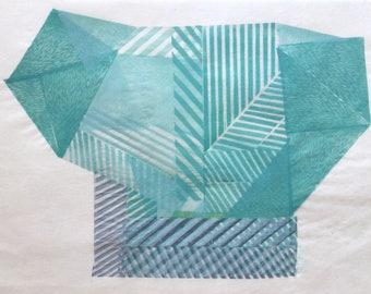 Magical Object II. original linocut monotype print, geometric abstract wall art, Paulina Varregn